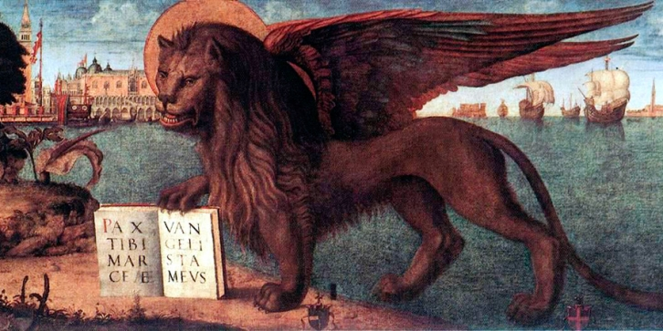 The Lion of St Mark by Vittore Carpaccio, 1516. Detail. Palazzo Ducale, Venice.